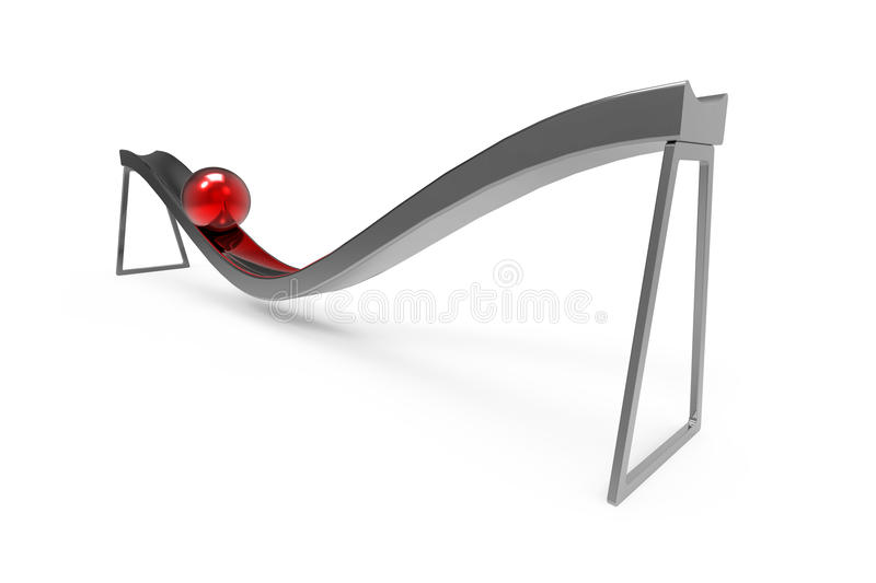 Gravity. Red metal ball rolls down the chute under the influence of gravity royalty free illustration
