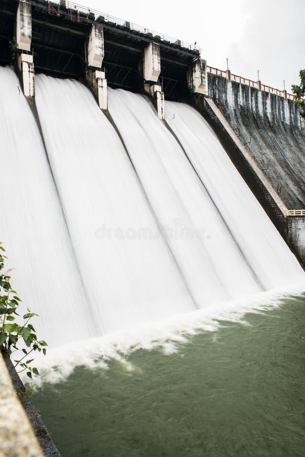 Gravity Dam in Kerala. Water rushing with speed through the water gates in Neyyar dam at Thiruvananthapuram, Kerala. Neyyar is a gravity dam with astonishing royalty free stock image