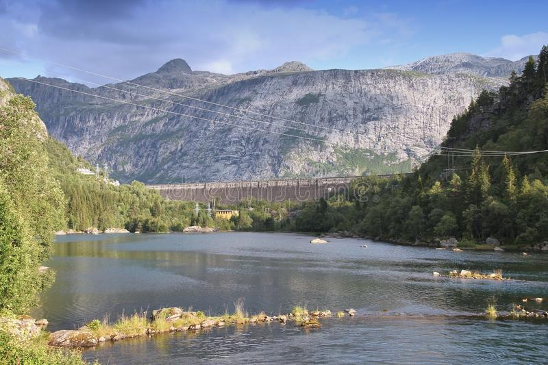 Gravity dam. In Norway - Ringedals Dam in Tyssedal, Hordaland county stock images