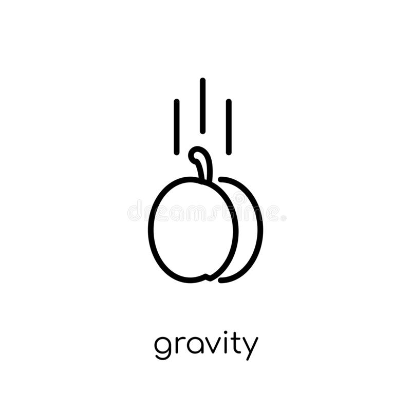 Gravity icon from collection. Gravity icon. Trendy modern flat linear vector gravity icon on white background from thin line collection, outline vector stock illustration