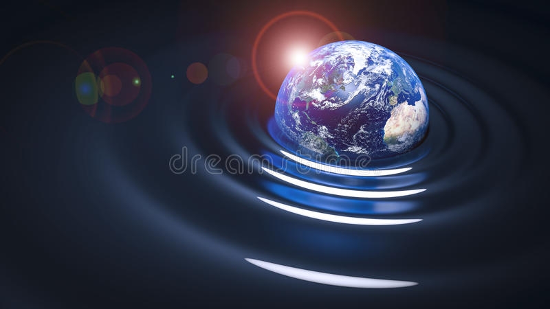 Gravity wave on Earth. Our blue planet vector illustration