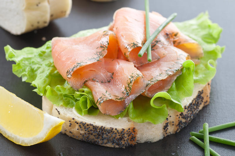 Gravlax Sandwich stock photo