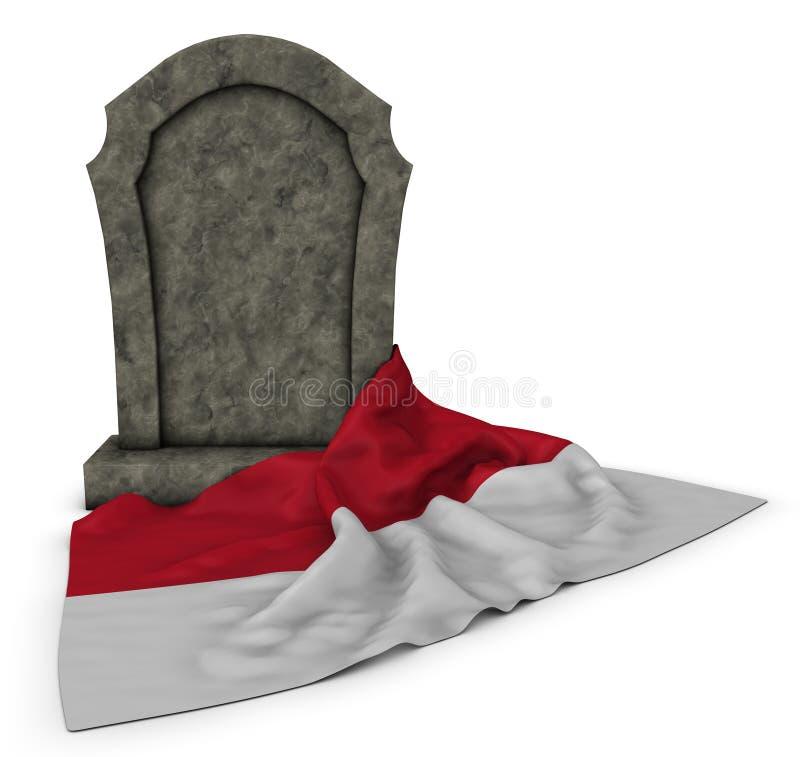 Gravsten och flagga av Monaco stock illustrationer