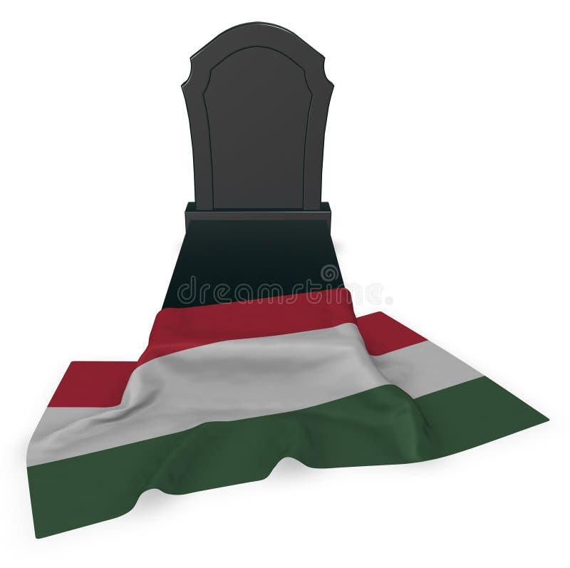 Gravsten och flagga av Ungern stock illustrationer