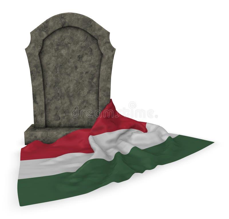 Gravsten och flagga av Ungern vektor illustrationer