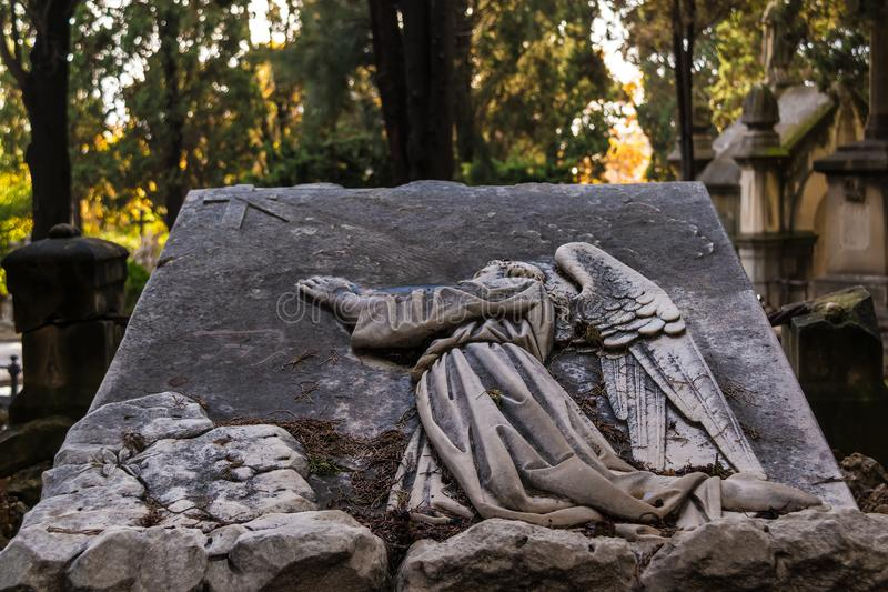 Gravsten på den Montjuic kyrkogårdcloseupen, Barcelona, Spanien fotografering för bildbyråer