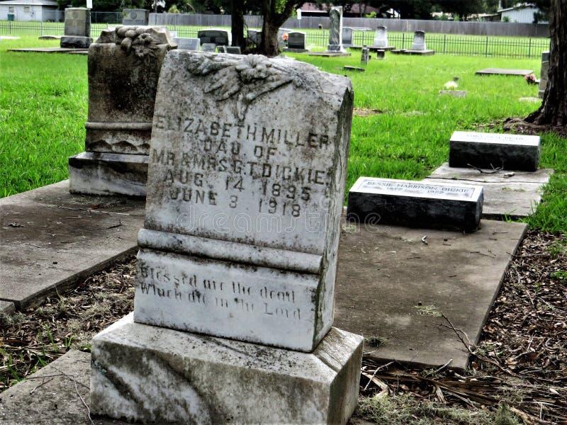 Gravstenar gammal kyrkogård, Palmetto, Florida royaltyfria bilder