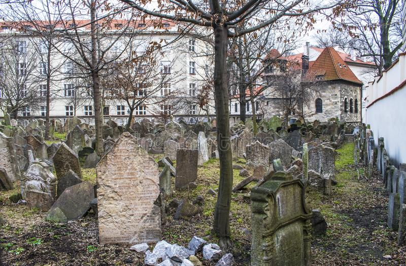 Gravstenar på gammal judisk kyrkogård i Prague royaltyfria bilder