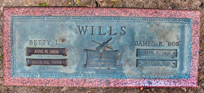 Gravstenslut upp av Wester gungamusik Bob Wills i Tulsa Oklahoma arkivbild