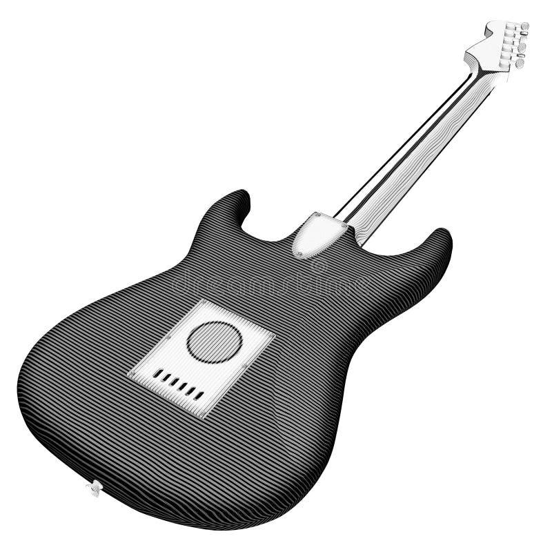 Gravura da guitarra ilustração do vetor
