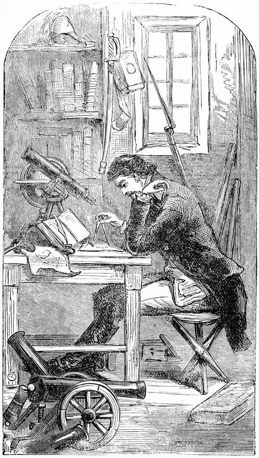 Gravura de Louis Napoleon em seu estudo ilustração royalty free