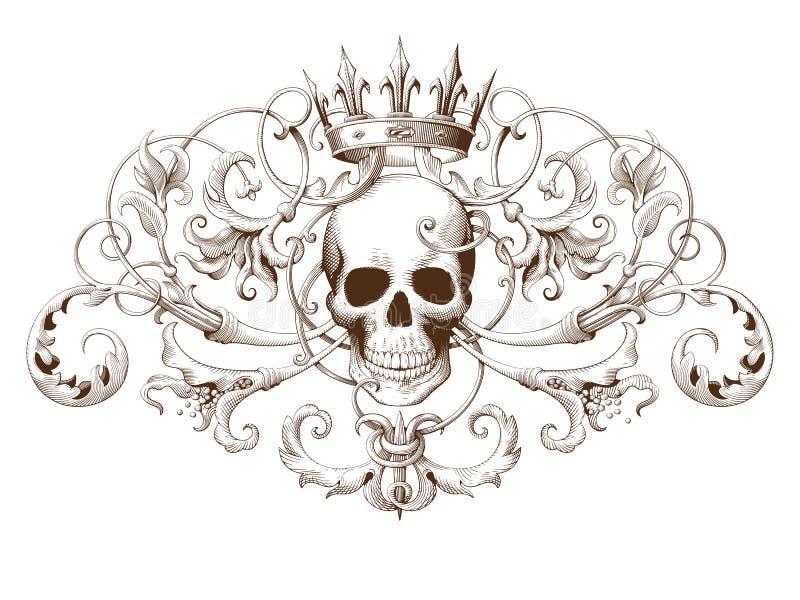 Gravura decorativa do elemento do vintage com teste padrão barroco e crânio do ornamento ilustração stock