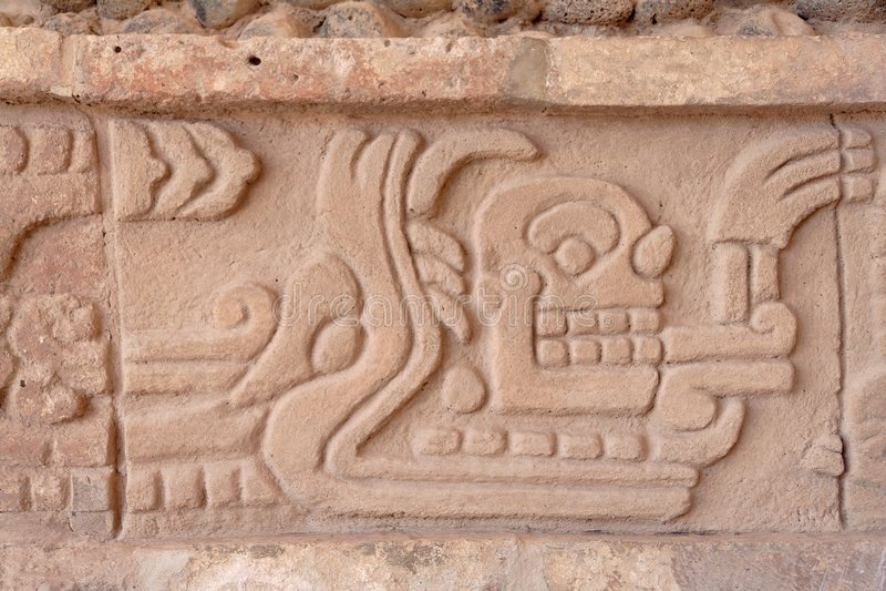 Gravura do deus de Toltec foto de stock