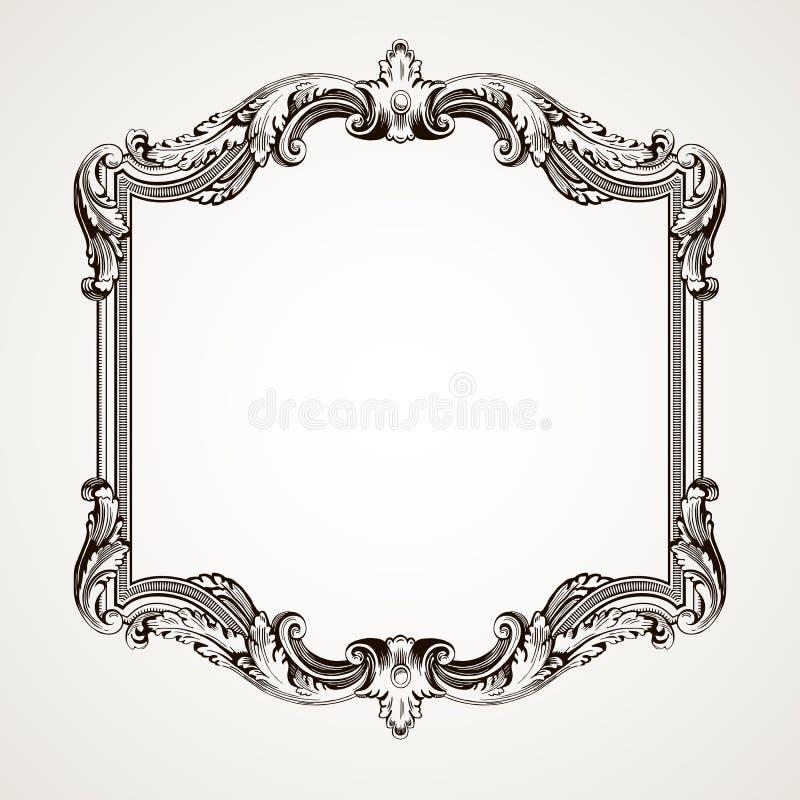 Gravura do frame da beira do vintage do vetor ilustração royalty free