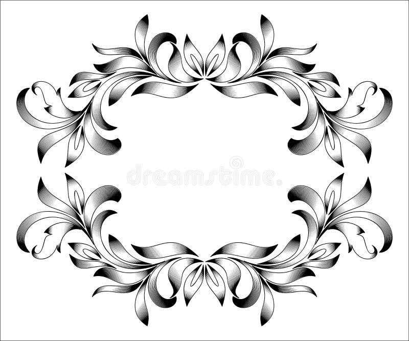 Gravura do quadro da beira do vintage com teste padrão retro do ornamento no projeto decorativo do estilo floral antigo ilustração do vetor