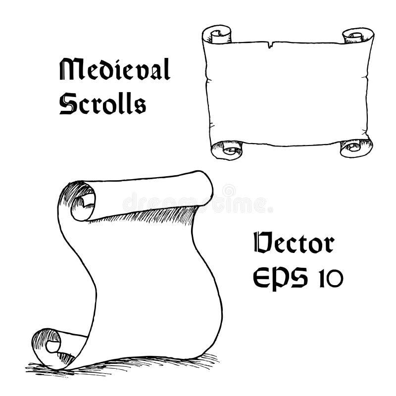 Gravura do rolo medieval vazio ilustração royalty free