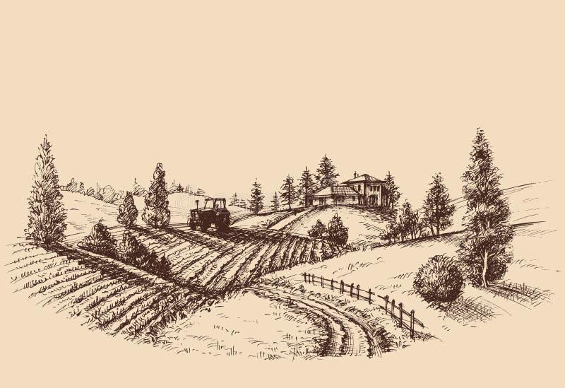 Gravura em àgua forte da paisagem da exploração agrícola ilustração stock