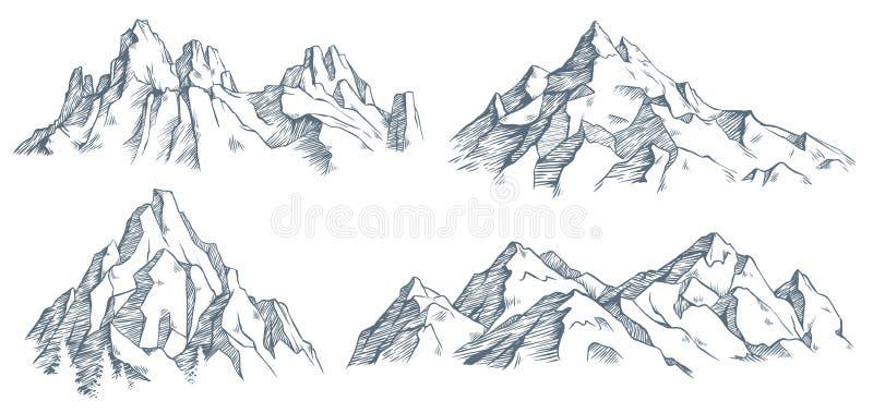 Gravura m?xima das montanhas Esbo?o gravado vintage do vale com paisagem da montanha e as ?rvores de floresta velhas Vetor ilustração do vetor