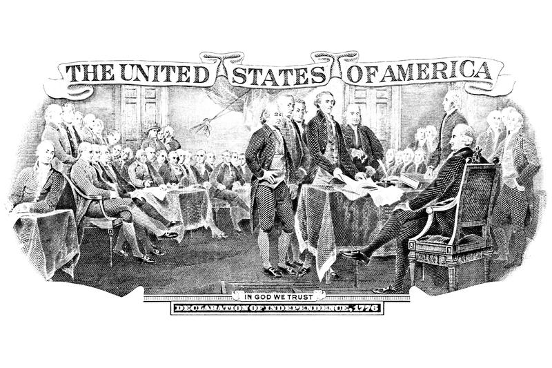 Gravura preto e branco da declaração de independência foto de stock