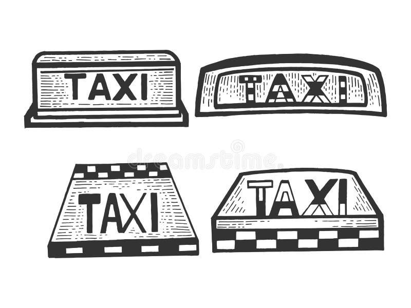 Gravura superior do esboço do grupo da caixa leve do sinal do táxi ilustração stock