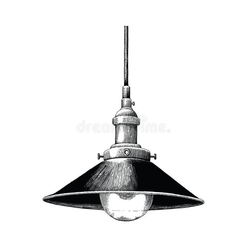 Gravure accrochante de dessin de main de lampe de vintage d'isolement sur le Ba blanc illustration libre de droits