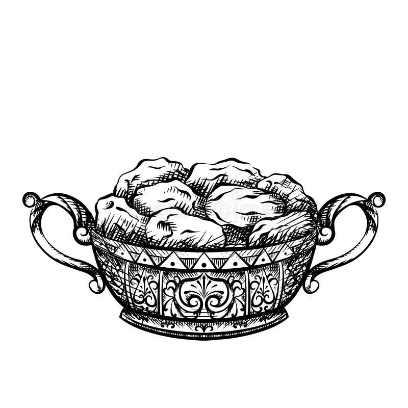 Gravure blanche noire des dates dans un vase luxueux Festin de fête pour le kareem de Ramadan Vecteur hachant l'élément illustration de vecteur