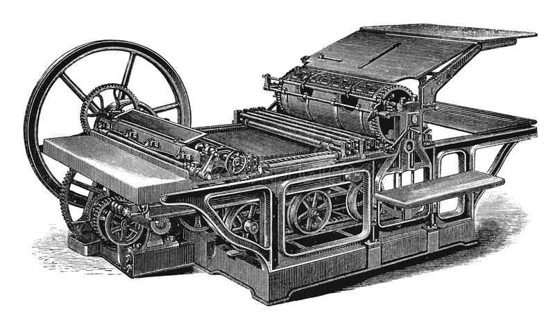 Gravure d'antiquité de machine d'impression de vintage illustration stock