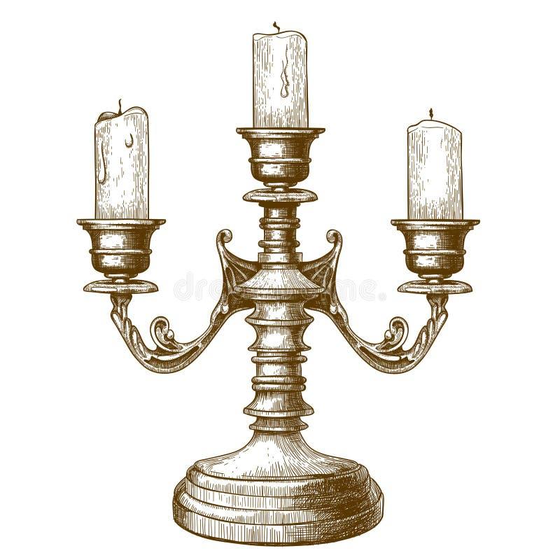 Gravure de chandelier sur le fond blanc illustration de vecteur