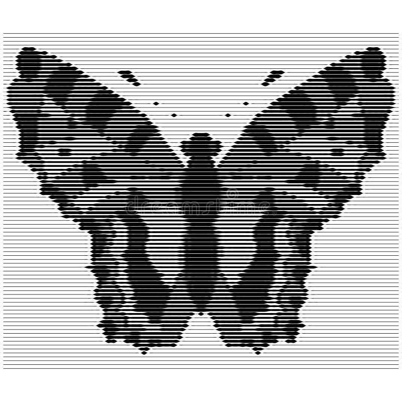 Gravure de la silhouette d'un papillon avec des bruits verticaux Illustration de vecteur illustration de vecteur