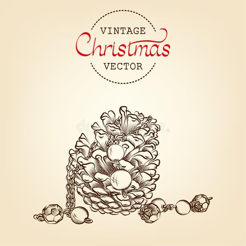 Gravure de vecteur de cône de pin de Noël de vintage image stock