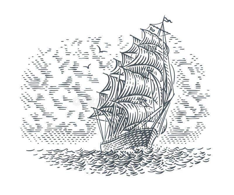 Gravure illustration au trait style de bateau de navigation images stock