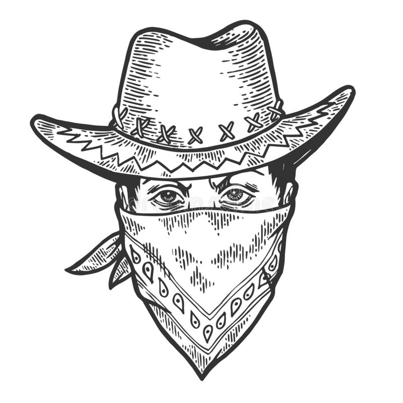 Gravure principale de croquis de bandana de masque de bandit de cowboy illustration de vecteur
