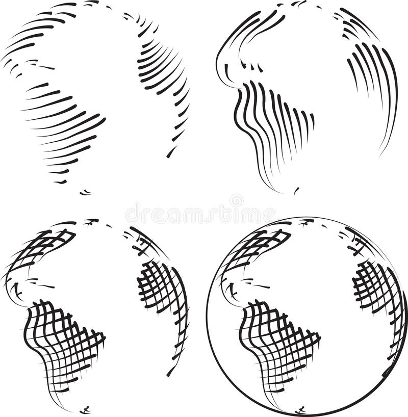 Gravure simple du monde illustration libre de droits