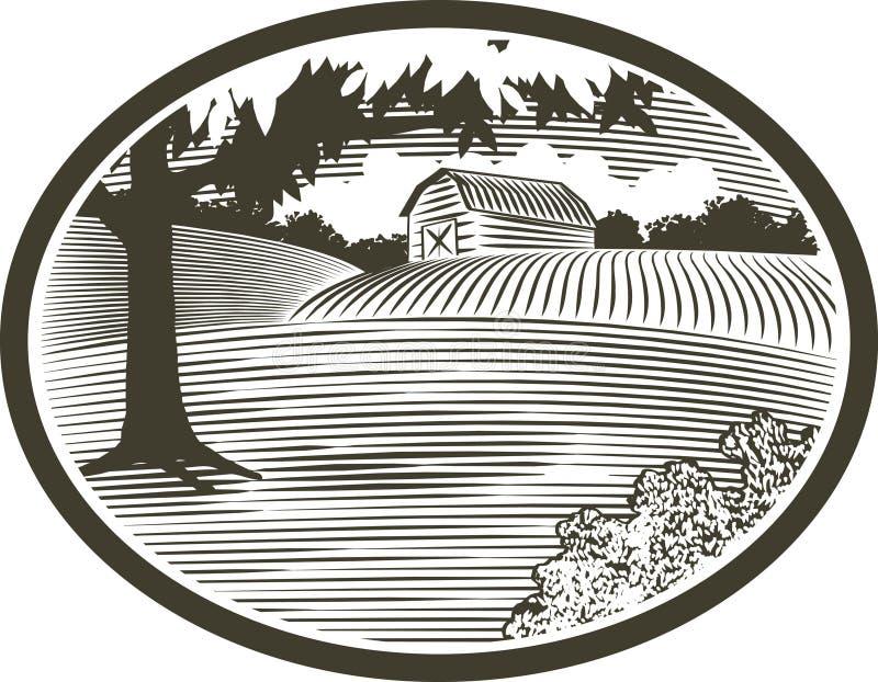 Gravure sur bois avec la scène de grange illustration de vecteur