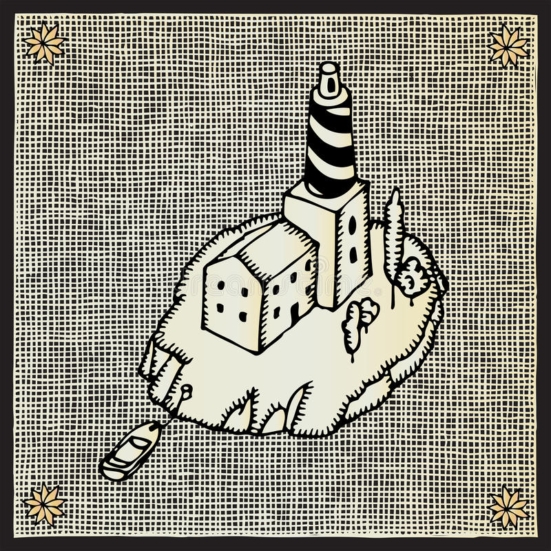 Gravure sur bois de phare illustration libre de droits