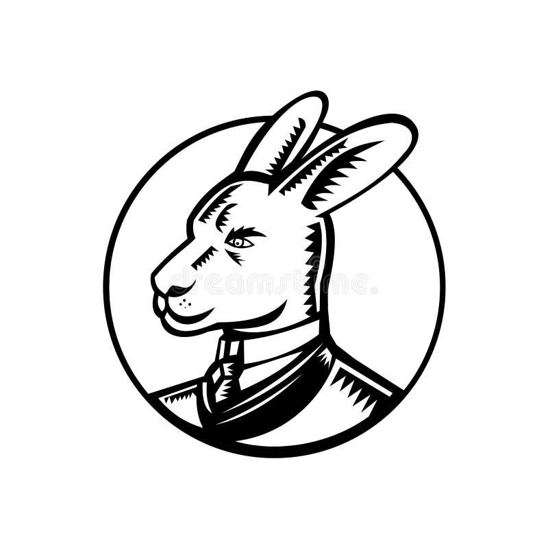 Gravure sur bois de port en cercle de costume de kangourou illustration stock