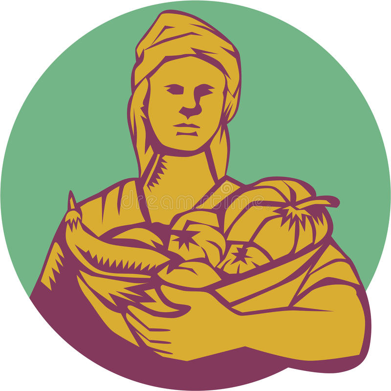 Gravure sur bois organique femelle en Basket Harvest Circle d'agriculteur illustration libre de droits