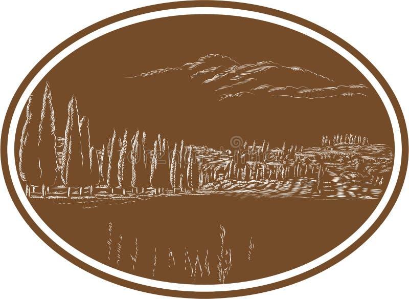 Gravure sur bois toscane de l'Italie de paysage illustration stock
