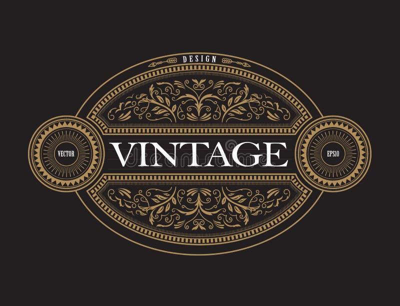 Gravure tirée par la main de cadre de vintage de label occidental antique de frontière illustration de vecteur