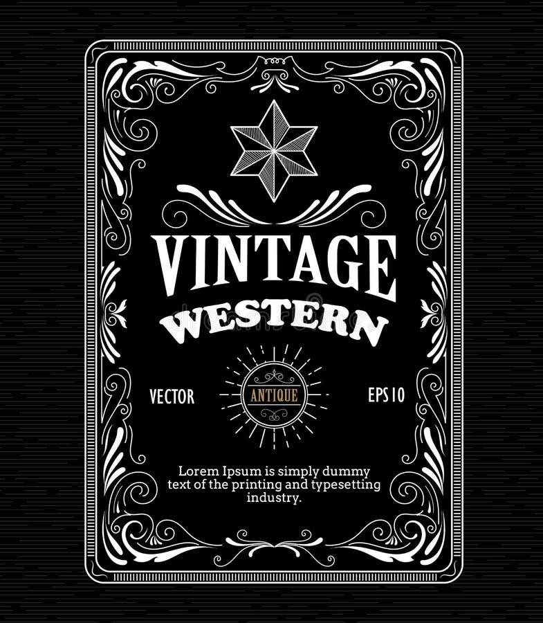 Gravure tirée par la main de label occidental de frontière de cadre de vintage rétro illustration de vecteur
