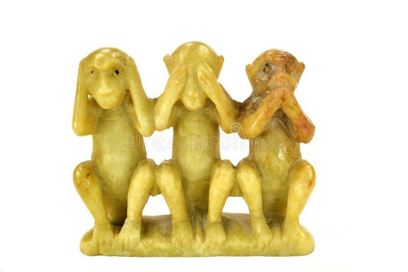 Gravure van de drie apen royalty-vrije stock foto