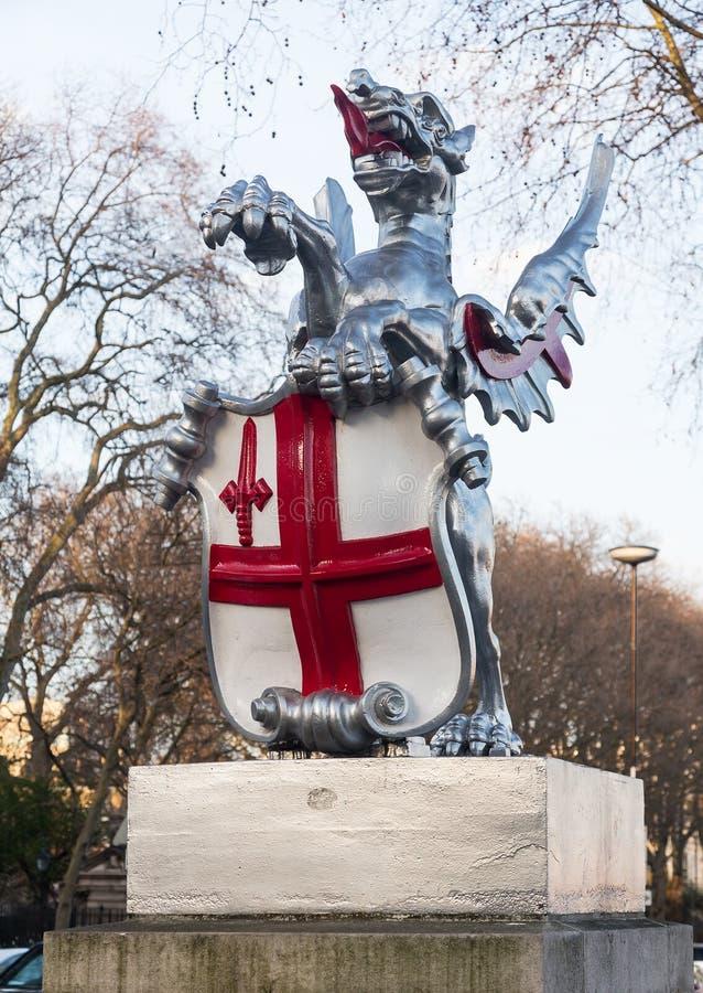 Gravure van draak in Stad van Londen royalty-vrije stock foto