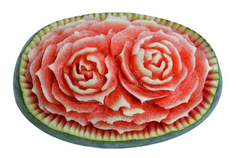 Gravure van het watermeloen de Thaise die fruit op wit wordt geïsoleerd royalty-vrije stock foto