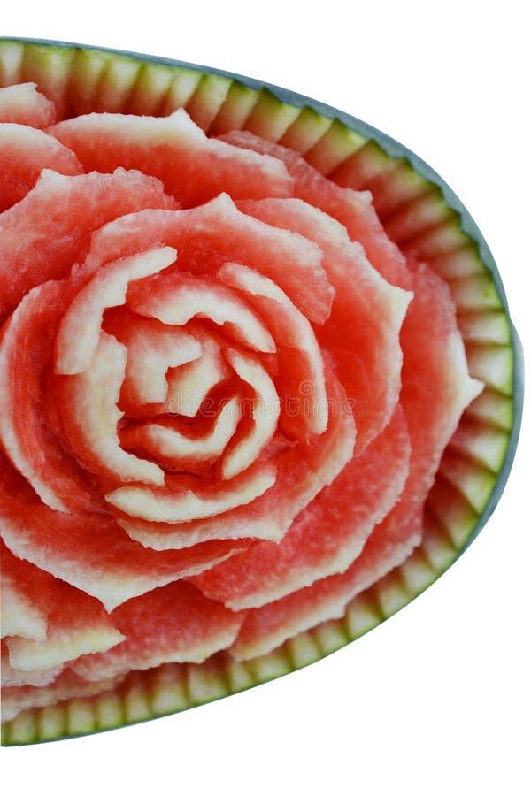Gravure van het watermeloen de Thaise die fruit op wit wordt geïsoleerd stock afbeelding