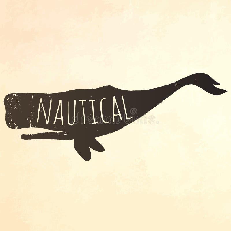Gravurehand getrokken walvis royalty-vrije illustratie