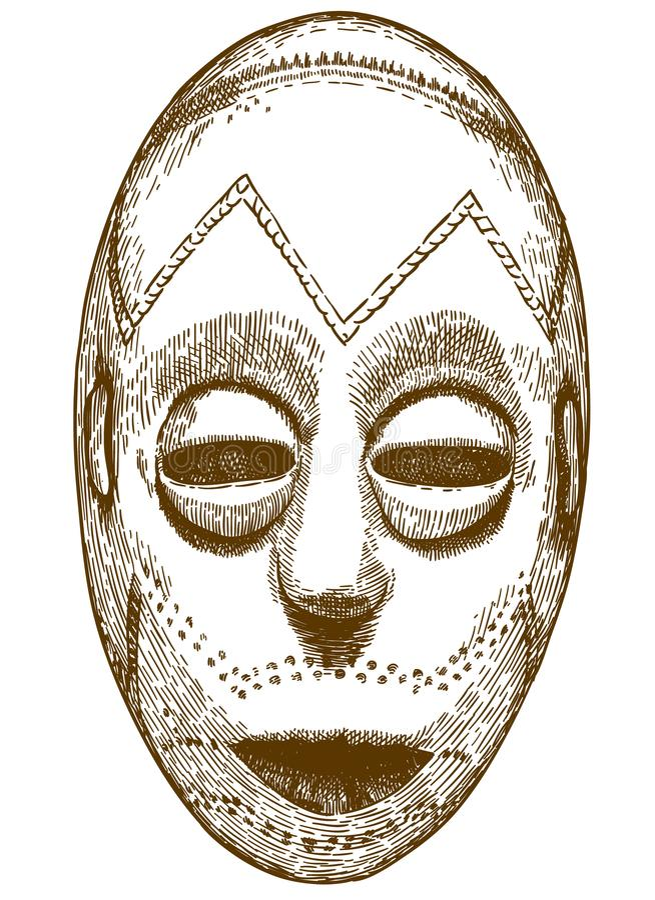 Gravureillustratie van Afrikaans masker vector illustratie