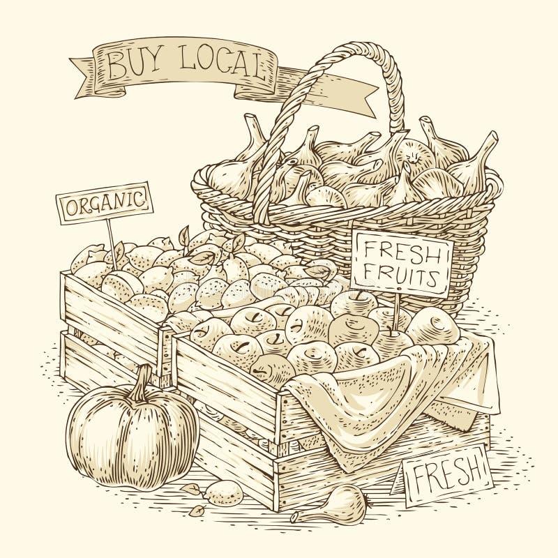 Gravurevruchten en Groenten voor Verkoop stock illustratie