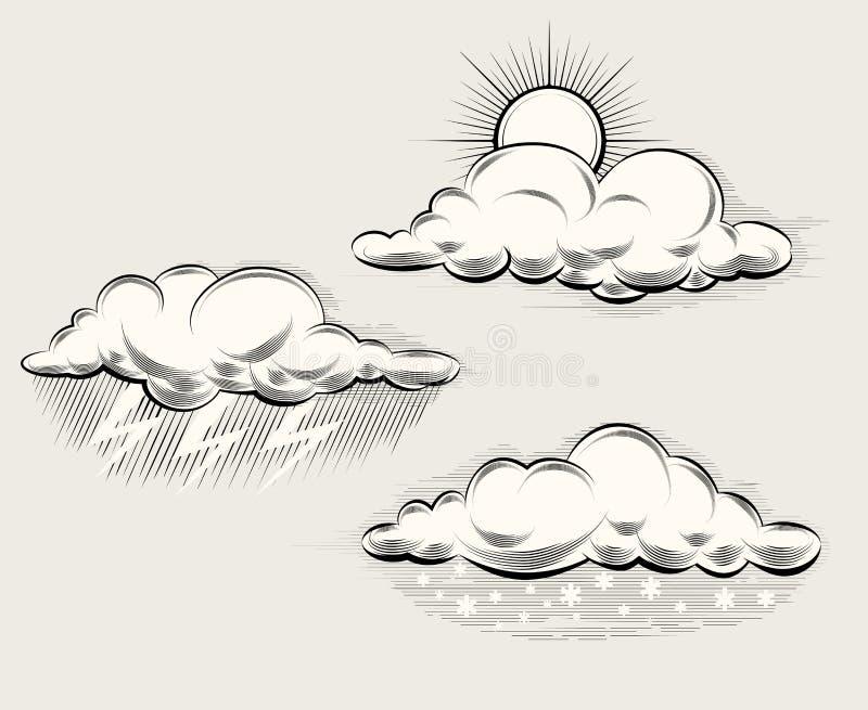 Gravureweer Zon achter wolk, regen en royalty-vrije illustratie