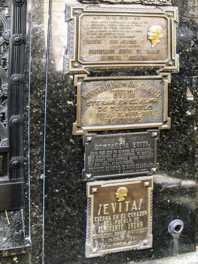 Gravvalv av Eva Peron, Evita, den berömda presidentsfrun av Argentina royaltyfria bilder