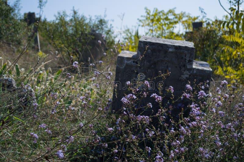 Gravvalvstenar på en Christian Cemetery i Mostar, Bosnien & Hercegovina fotografering för bildbyråer